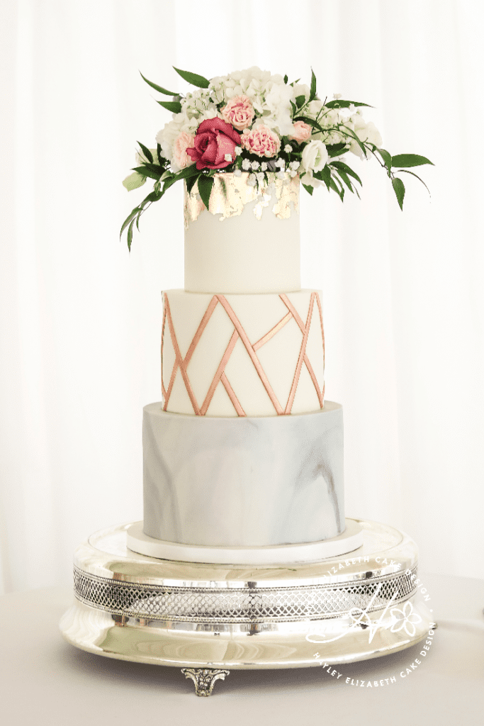 Elegant wedding cakes from Hayley Elizabeth Cake Design, marble wedding cake, wedding cake inspiration, luxury wedding cake, rose gold wedding cake, copper wedding cake, geometric wedding cake, modern wedding cake
