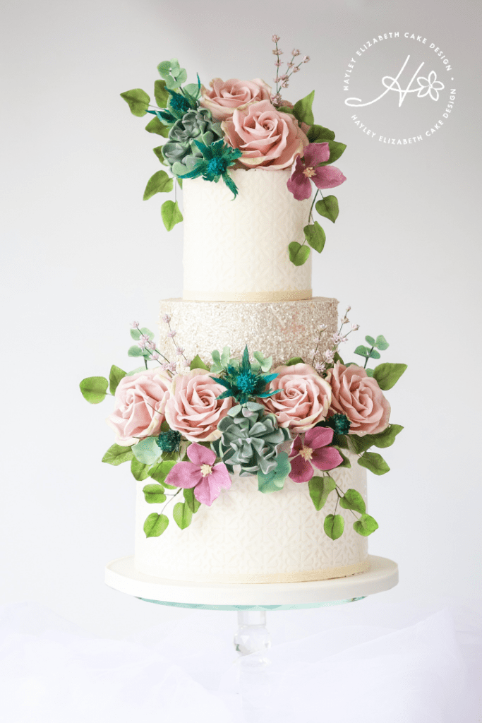 Sugar flower wedding cake, botanical wedding cake, garden wedding cake, elegant wedding cakes, luxury wedding cake, foliage wedding cake, summer wedding cake