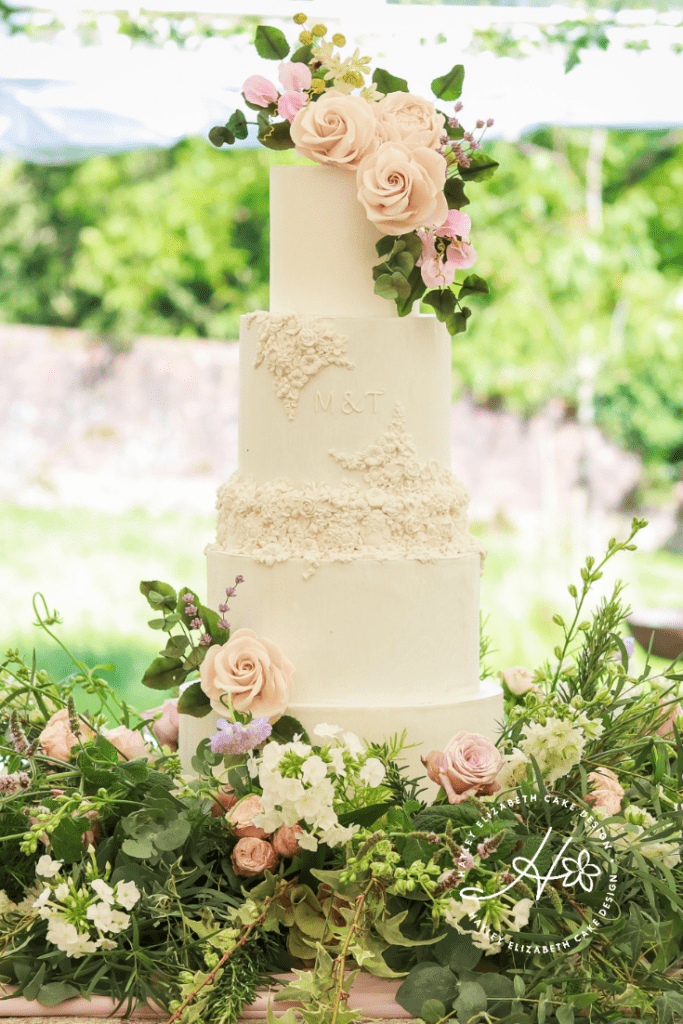 Textured wedding cake, textured white wedding cake with embossed initials and mouldings, english summer wedding cake, elegant country garden wedding cake