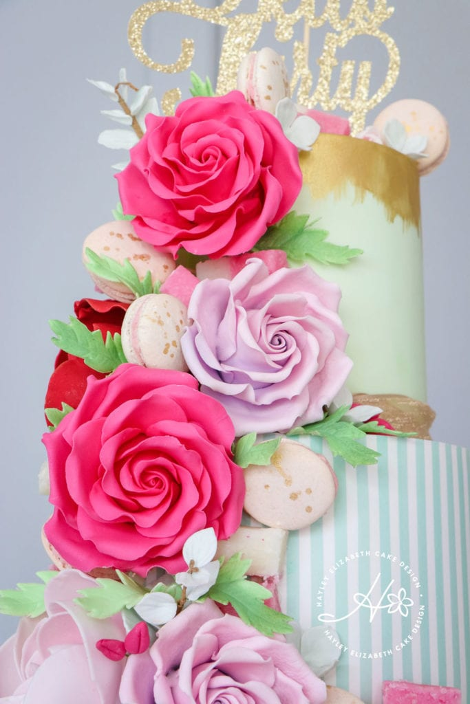 Bright birthday cake, colourful birthday cake, 30th birthday cake ideas, feminine birthday cake, pink celebration cake, pink birthday cake, grown-up birthday cake