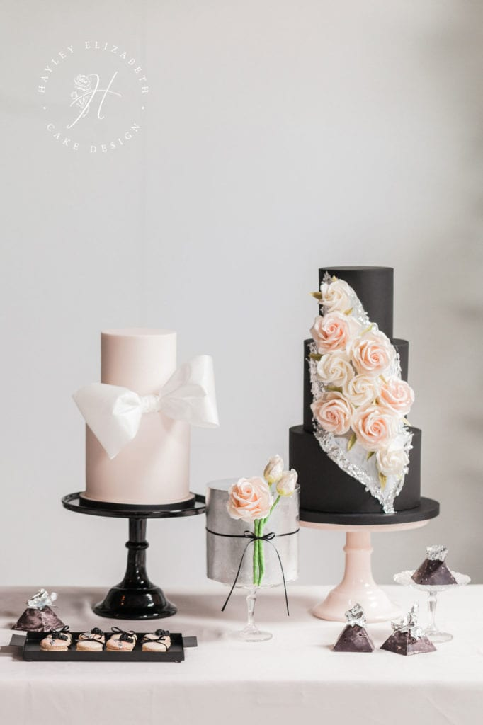 Luxury wedding cakes in blush and black   Trio of modern wedding cakes with silver leaf   Discover more luxury wedding cake designs   white blush wedding cake   wedding cake with bow   bow wedding cake   pink wedding cake ideas   sugar flower wedding cake   wedding cake with sugar flowers   black wedding cake   black blush wedding   modern wedding cake   elegant wedding cake display   luxury wedding cake unique   luxury wedding cake table #modernweddingcake #weddingcakeideas #blackweddingcake