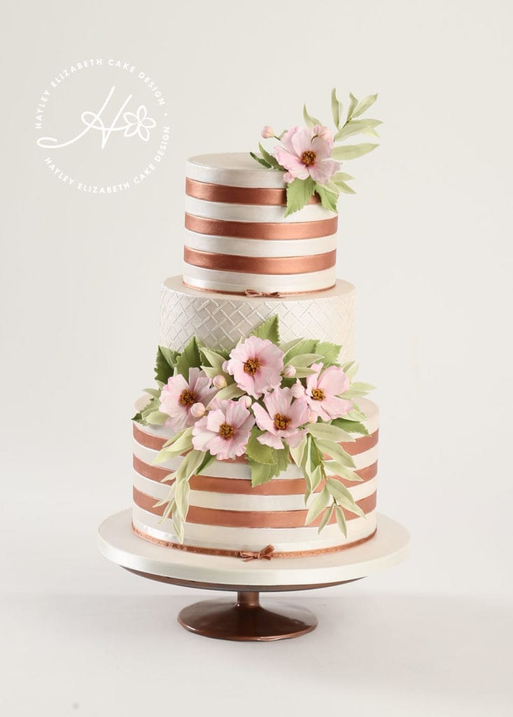 Copper stripe wedding cake, luxury wedding cake from Hayley Elizabeth Cake Design, Dorset and Hampshire cake designer. Rose gold wedding cake, copper wedding cake, sugar flowers, autumnal wedding cake, white wedding cake, elegant wedding cake, wedding cake ideas.