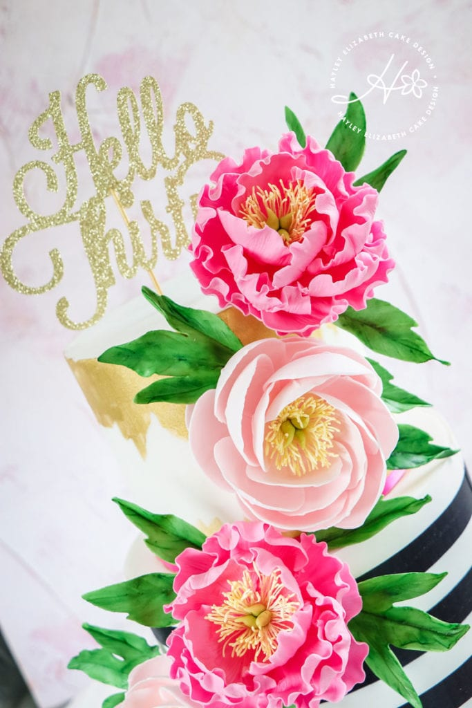 Bright, colourful birthday cake. Kate spade birthday cake, luxury cake, bright cake, feminine cake, stripe cake, pink and gold cake, thirtieth birthday cake