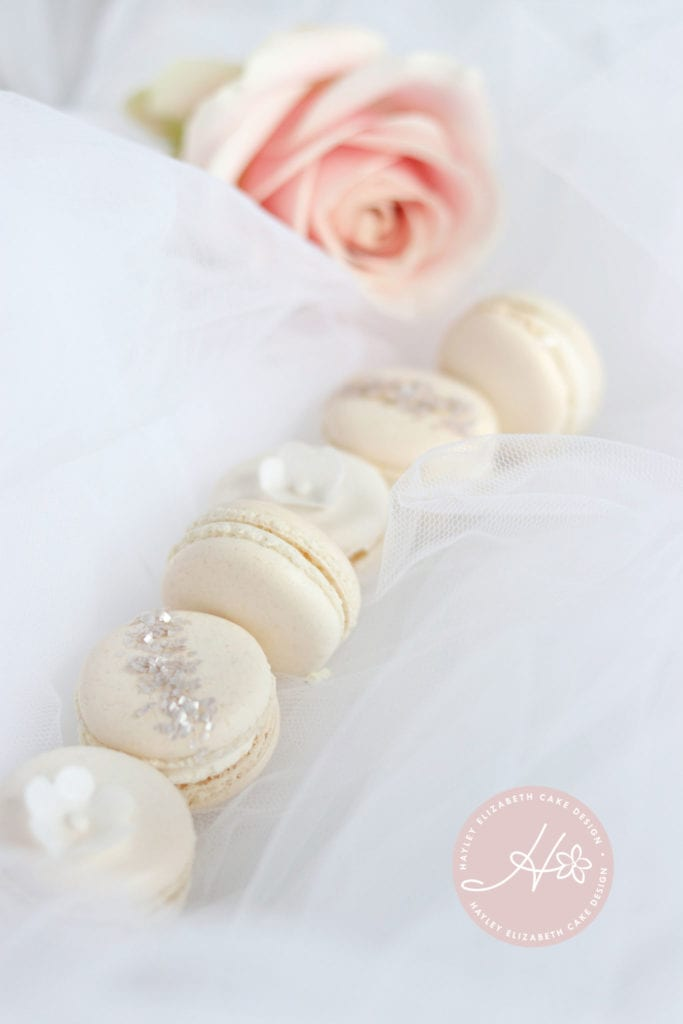 Cream macarons, white macarons, blush macarons, pretty macarons, dessert table, wedding favours, edible wedding favours, pretty sweet treats, wedding sweet table, wedding cake table, baby shower dessert table, pretty desserts, christening dessert table, luxury party favours