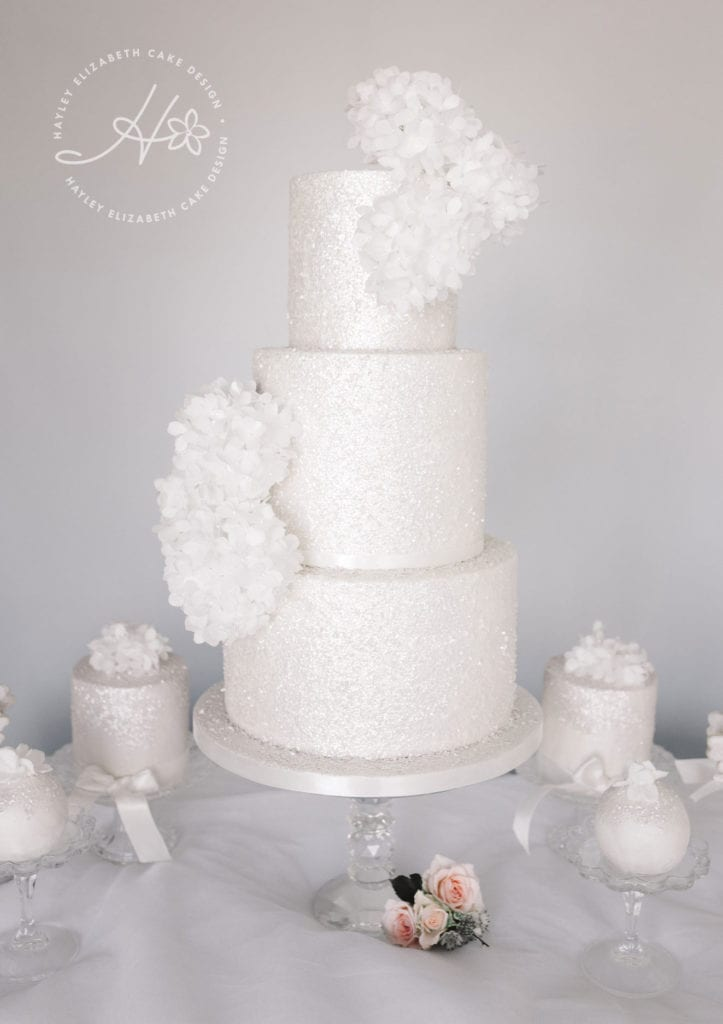Luxury wedding cakes, elegant wedding cakes, dessert tables, white wedding cake, silver wedding cake, shimmer wedding cakes, dessert table ideas, hampshire wedding, surrey wedding, wedding cake inspiration, wedding cake ideas