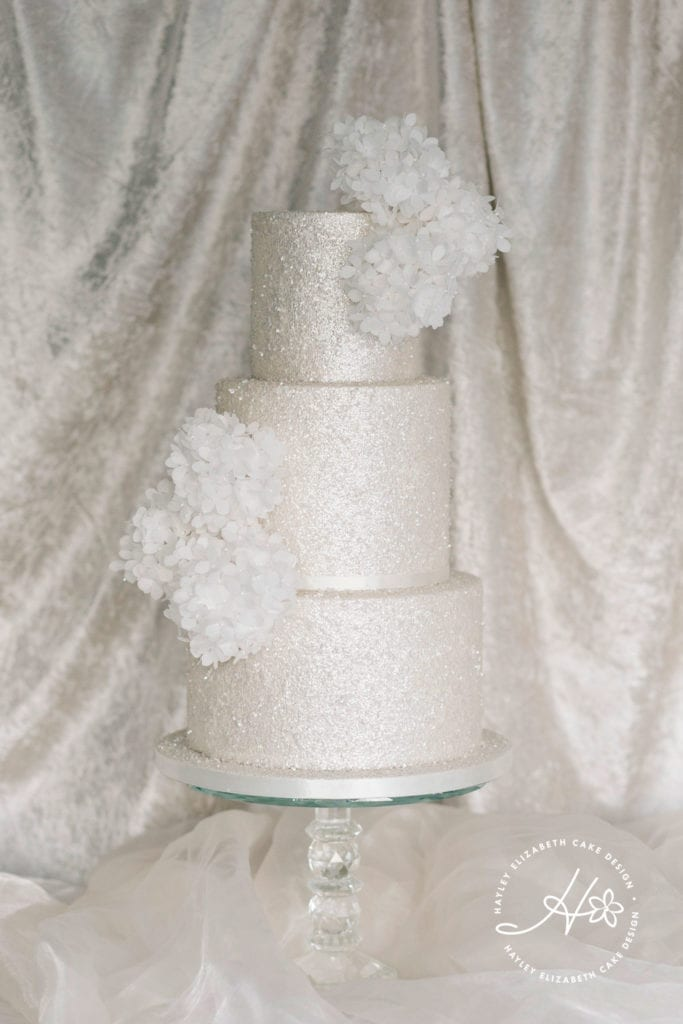 All white sparkle wedding cake