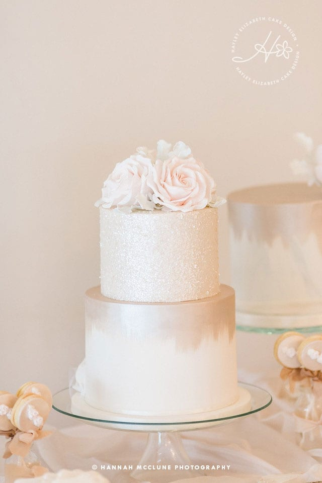 Neutral wedding cake, shimmer wedding cake, glitter wedding cake, luxury wedding cakes, elegant wedding cakes, wedding cake inspiration, Hampshire cake designer, sugar flowers, dessert table, sweet table, taupe wedding cake, white wedding cake. Hannah McClune Photography.