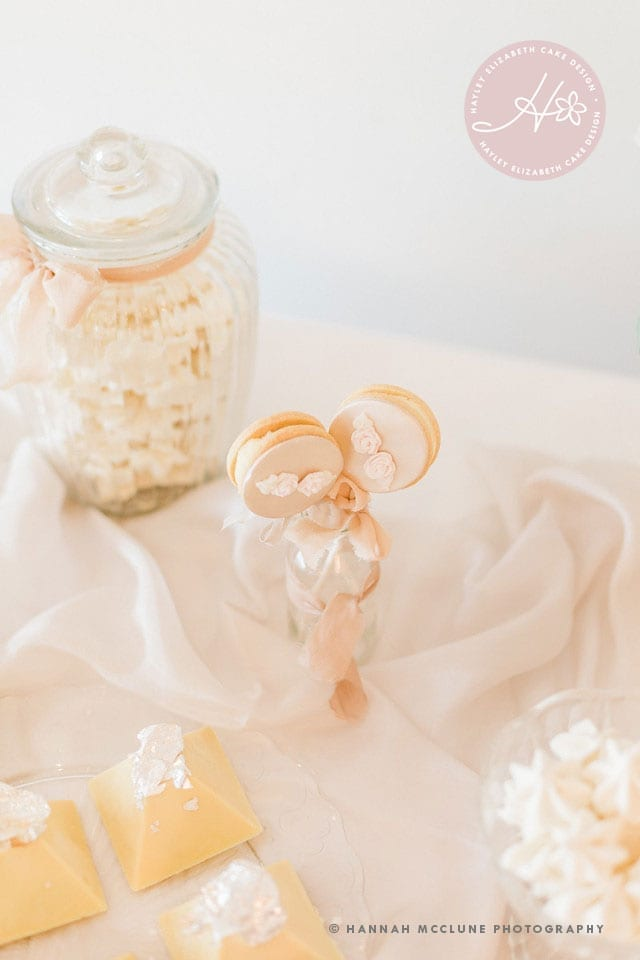 Elegant dessert tables, luxury dessert table,  dessert table ideas, sweet table, luxury wedding cakes, winter wedding cakes, all white white dessert table, sweet treats, edible wedding favours, cookie pops, Hannah McClune Photography