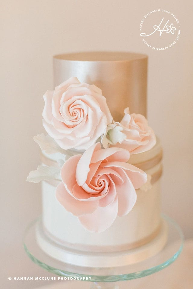 Neutral wedding cake, shimmer wedding cake, metallic wedding cake, luxury wedding cakes, elegant wedding cakes, blush pink wedding cake, wedding cake inspiration, Hampshire cake designer, sugar flowers, dessert table, sweet table, taupe wedding cake, white wedding cake. Hannah McClune Photography.