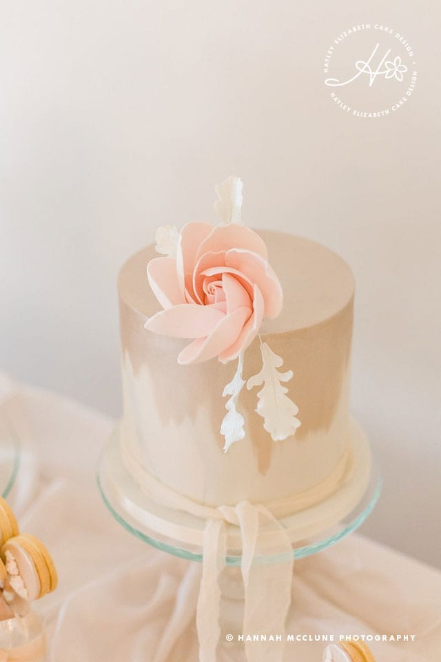 Neutral wedding cake, shimmer wedding cake, glitter wedding cake, luxury wedding cakes, elegant wedding cakes, blush pink wedding cake, wedding cake inspiration, Hampshire cake designer, sugar flowers, dessert table, sweet table, taupe wedding cake, white wedding cake. Hannah McClune Photography.