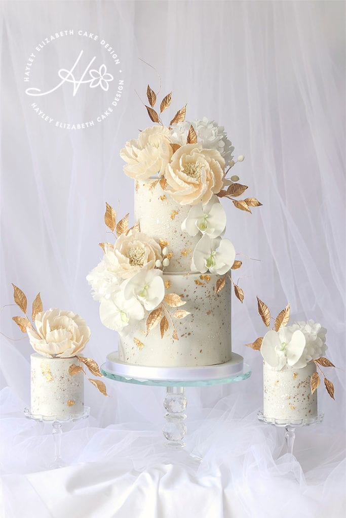 Luxury wedding cake from Hayley Elizabeth Cake Design, cream and gold wedding cake, wedding cake inspiration, elegant wedding cakes, blush and gold wedding cake, gold wedding cake, gold leaf wedding cake, blush and cream wedding cake, fine art wedding cake, luxury dessert table, elegant dessert table