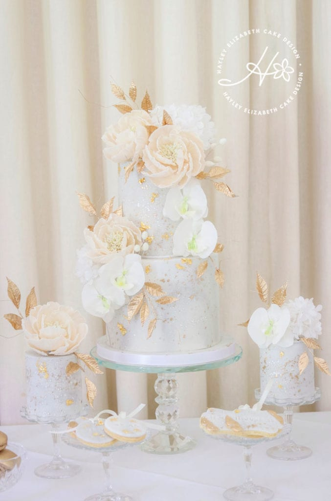 Luxury wedding cake from Hayley Elizabeth Cake Design, sugar orchids, cream and gold wedding cake, wedding cake inspiration, elegant wedding cakes, blush and gold wedding cake, gold wedding cake, gold leaf wedding cake, blush and cream wedding cake, fine art wedding cake, luxury dessert table, elegant dessert table