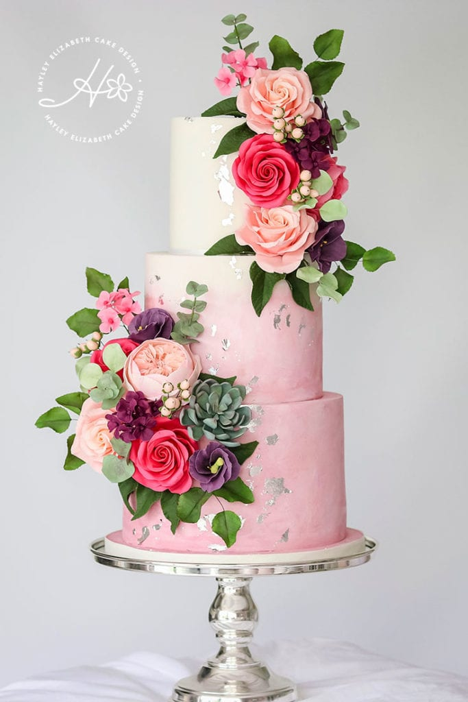 Pink wedding cake, luxury wedding cake, colourful wedding cake, elegant wedding cakes, watercolour wedding cake, silver leaf wedding cake, bright wedding cake, wedding cake inspiration, ombre wedding cake