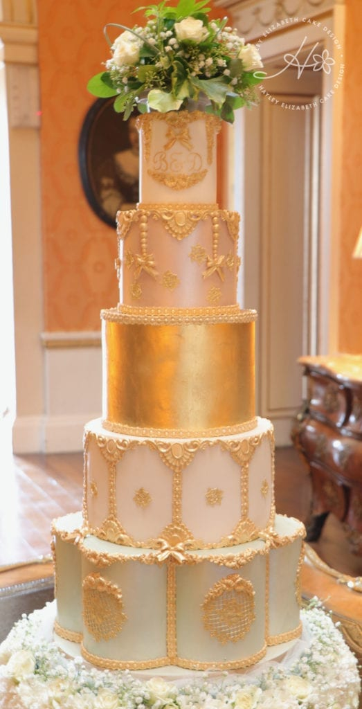 Gold wedding cake, elegant wedding cake, luxury wedding cake, opulent wedding cake, gold shimmer wedding cake, Hayley Elizabeth Cake Design, wedding cake ideas