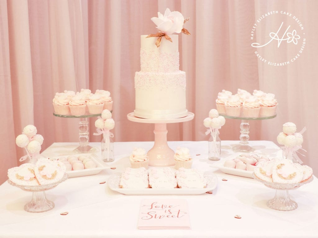 Pink dessert table, luxury dessert table, white, gold and pink wedding cake, elegant wedding cakes, sugar flowers, Hampshire and Dorset cake designer, wedding cake inspiration, luxury wedding cakes, hampshire wedding venues, dorset wedding venues, wedding cake ideas, wedding cake inspiration