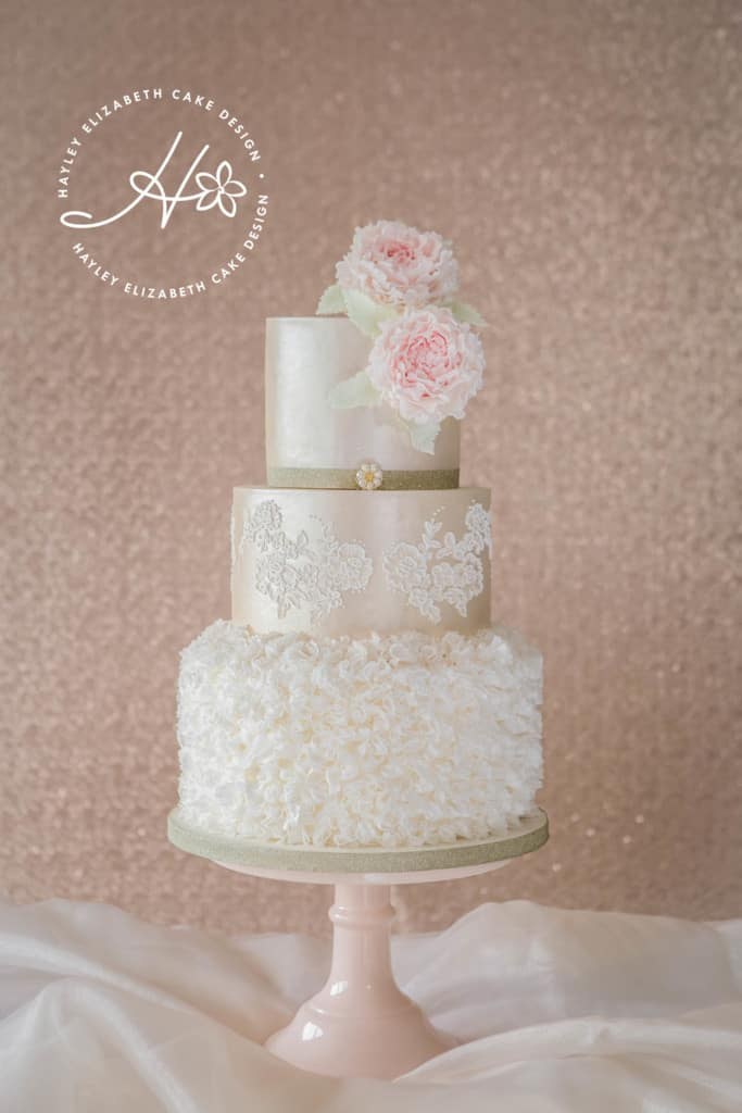 Ruffle Wedding Cake, Sugar flower peonies, Lace wedding cake, ivory wedding cake, blush wedding cake, luxury wedding cake, elegant wedding cake, wedding cake inspiration, Hampshire and Dorset cake designer.