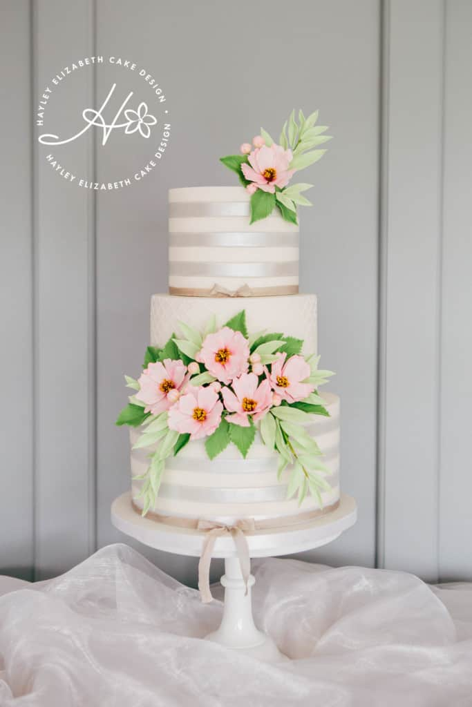 Luxury wedding cake from Hayley Elizabeth Cake Design, Hampshire and Dorset cake designer. Silver shimmer wedding cake, sugar flowers, pink and silver wedding cake, pretty wedding cake, elegant wedding cake, fondant icing