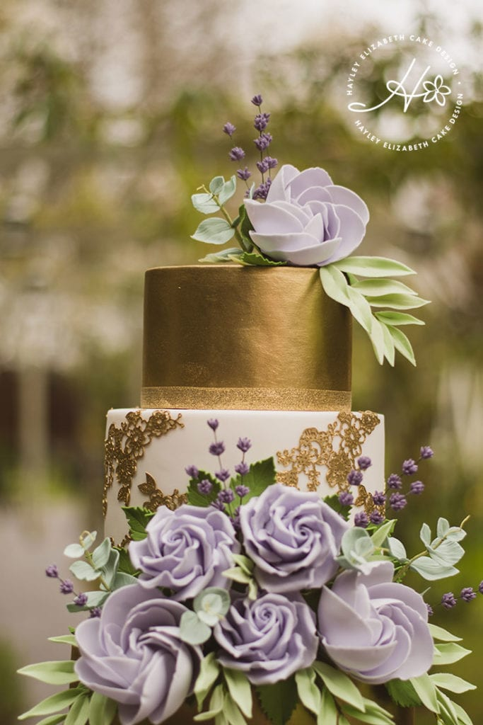 Gold and purple wedding cake, luxury wedding cake, elegant wedding cake, Hayley Elizabeth, Hampshire and Dorset Cake Designer, wedding cake inspiration, sugar flowers, lace wedding cake