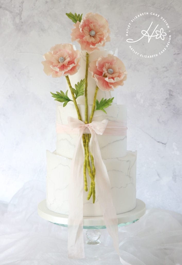 Luxury wedding cake from Hayley Elizabeth Cake Design, Dorset and Hampshire cake designer. Marble wedding cake, elegant wedding cake, peach sugar flowers, summer wedding,  wedding cake ideas.