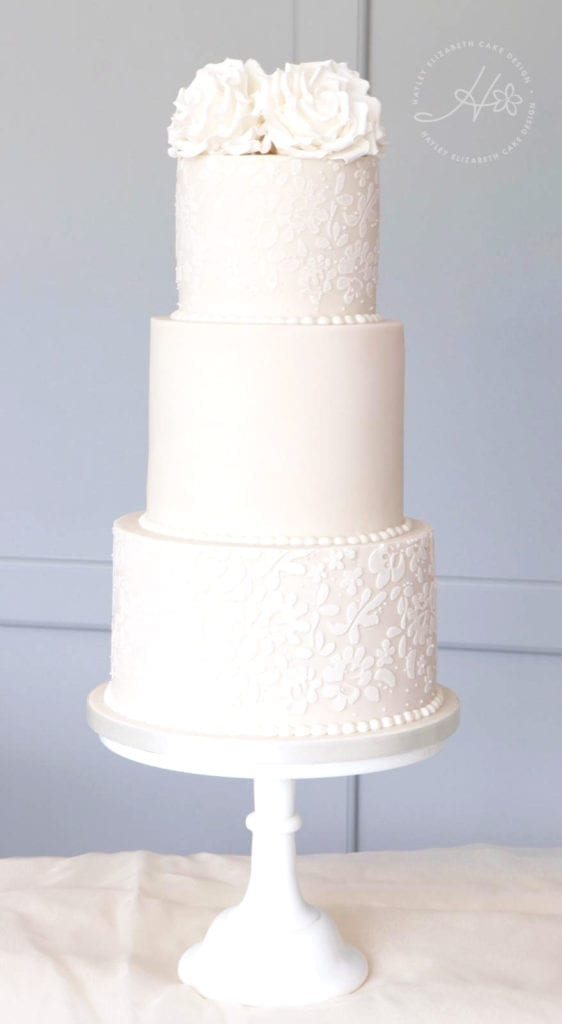 White wedding cake, sugar flowers, wedding cake inspiration, luxury wedding cake, elegant wedding cake, Hampshire and Dorset cake designer
