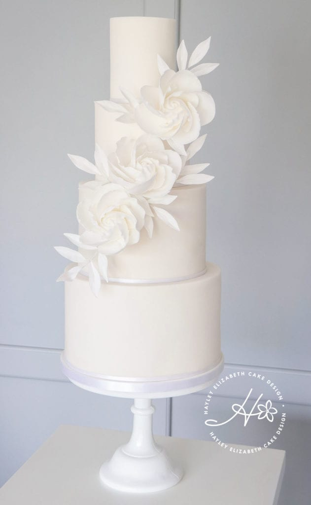 All white wedding cakes
