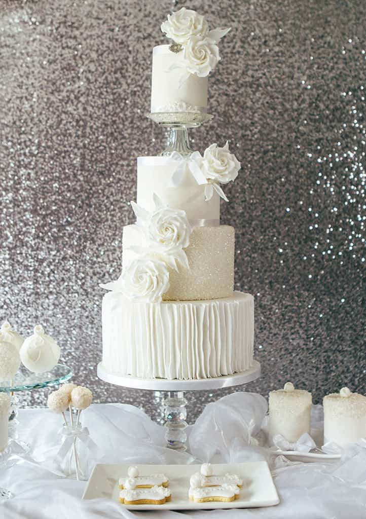 White wedding cake, dessert table from Hayley Elizabeth Cake Design, luxury wedding cake, elegant wedding cake, sugar flowers, pretty dessert table, wedding cake inspiration, Hampshire wedding cake design, cake art, Dorset cake design, wedding planning