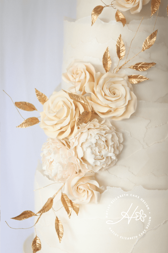 Luxury wedding cake from Hayley Elizabeth Cake Design, cream and gold wedding cake, wedding cake inspiration, elegant wedding cakes, blush and gold wedding cake, gold wedding cake, gold leaf wedding cake, blush and cream wedding cake, textured wedding cake