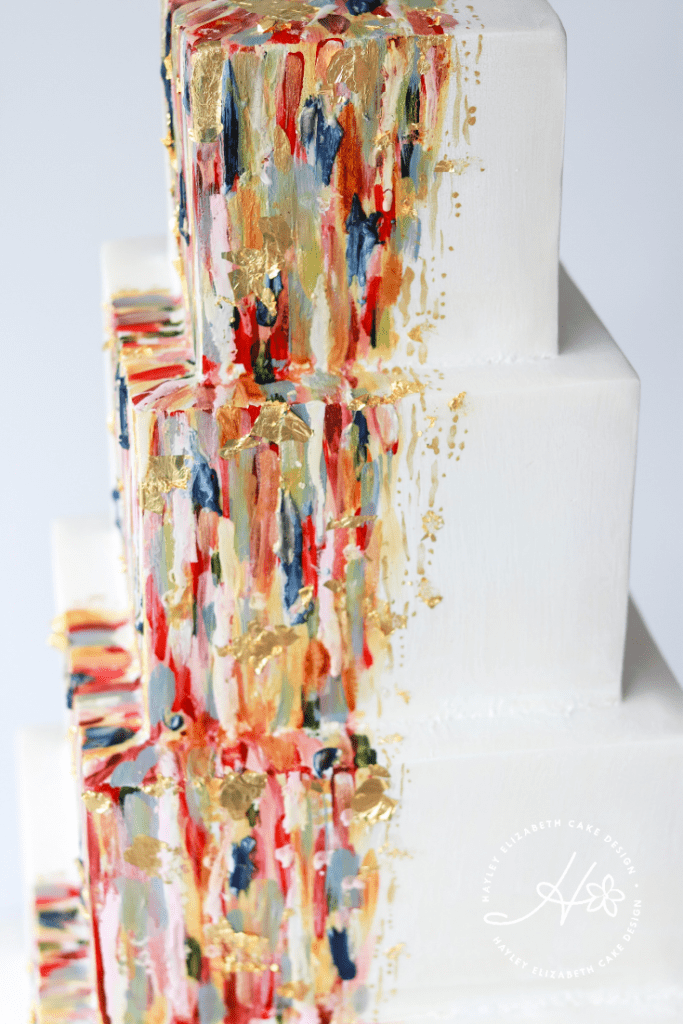 Modern wedding cake, painted wedding cake, square wedding cake, contemporary wedding cake, geometric wedding cake, abstract wedding cake, luxury wedding cake, elegant wedding cakes, colourful wedding cake