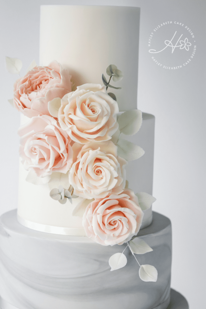 Grey marble and white wedding cake with blush sugar roses, marble wedding cake, grey and white wedding cake, elegant wedding cakes