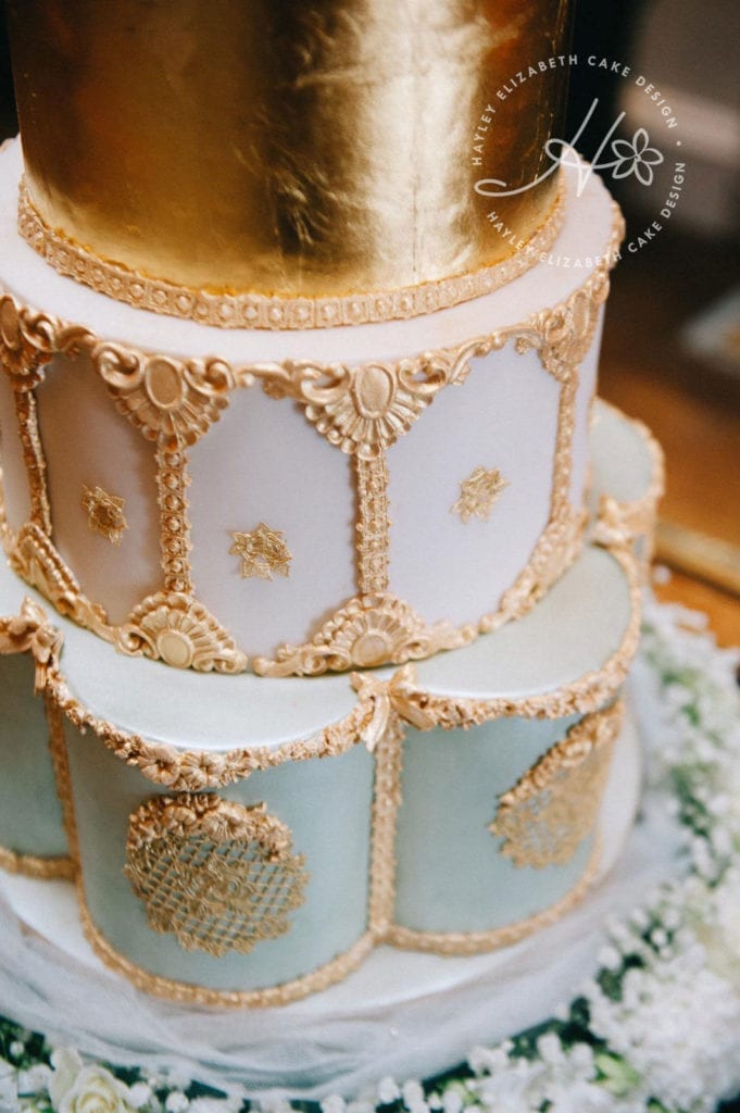 Luxury gold wedding cake, ornate wedding cake, elegant wedding cake, gold detail wedding cake, Hayley Elizabeth Cake Design, gold wedding cake, glam wedding cake, wedding cake ideas, sugar art.