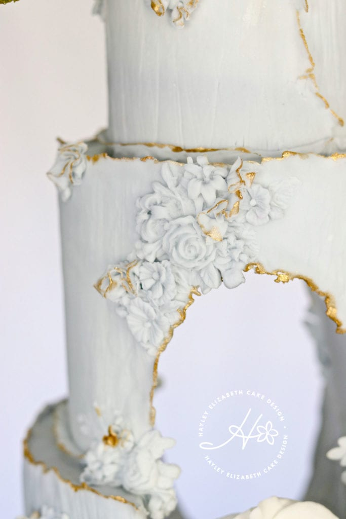 Fairy tale wedding cake, luxury wedding cake, sugar flowers, princess wedding cake, pastel blue wedding cake, elegant wedding cakes, cake art, blue and gold wedding cake, cake details, grand wedding cakes, fine art wedding cake