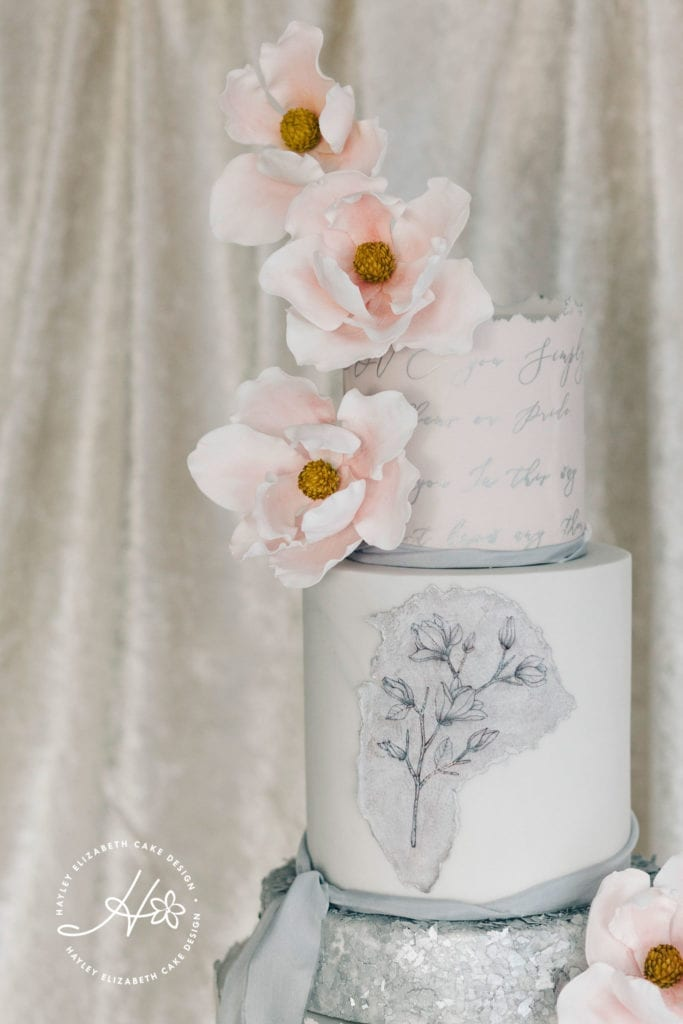 Luxury wedding cakes, elegant wedding cakes, calligraphy wedding cake, white wedding cake, grey wedding cakes, pink and grey wedding cakes, silver wedding cakes, hampshire wedding, surrey wedding, wedding cake inspiration, wedding cake ideas, sugar flowers