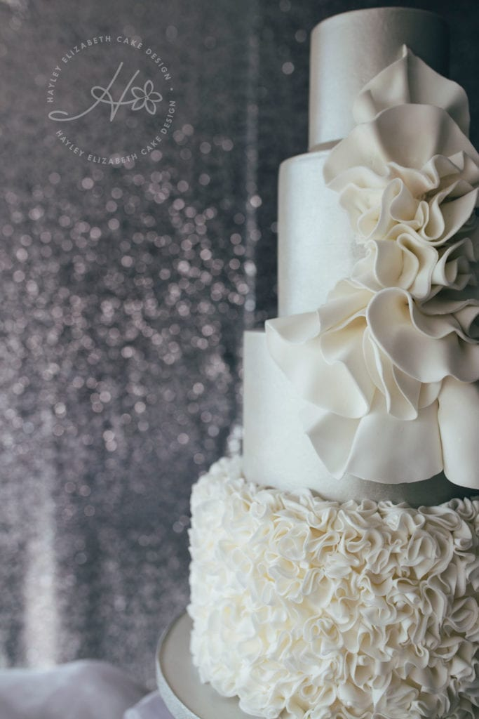 All white wedding cake, luxury wedding cake, elegant wedding cake, Hayley Elizabeth Cake Design, ruffle cake, sugar art, white on white wedding cake, wedding cake inspiration, wedding cake ideas