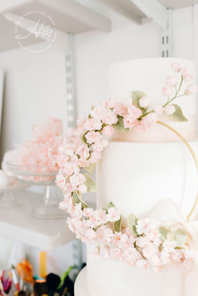 Luxury wedding cake from Hayley Elizabeth, Hampshire and Dorset Cake Design. Sugar flowers, pink and white wedding cake, blossom wedding cake, hoop wedding cake, wedding cake inspiration, elegant wedding cake