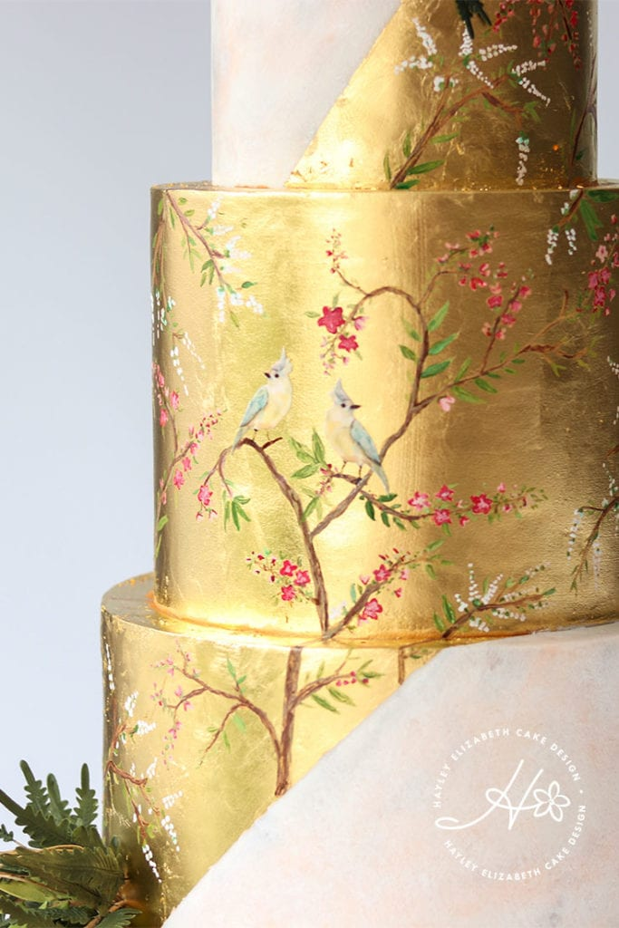 Painted Gold leaf wedding cake, detailed wedding cake, luxury wedding cake, elegant wedding cakes, gold wedding cake, foil wedding cake, wedding cake inspiration, opulent wedding cake, painted wedding cake, fine art wedding cake