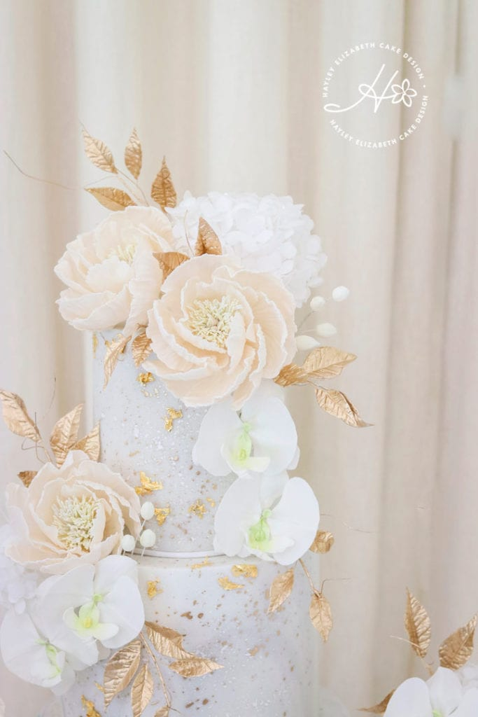 Luxury wedding cake from Hayley Elizabeth Cake Design, cream and gold wedding cake, wedding cake inspiration, elegant wedding cakes, blush and gold wedding cake, gold wedding cake, gold leaf wedding cake, blush and cream wedding cake, fine art wedding cake, sugar orchids