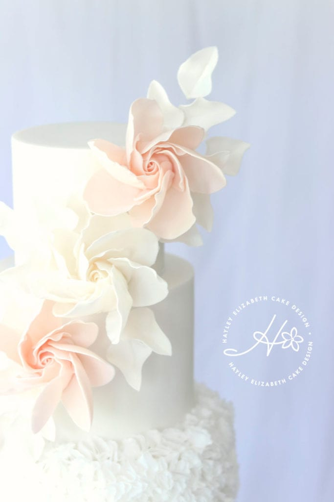Luxury wedding cake from Hayley Elizabeth Cake Design, ruffle wedding cake, wedding cake inspiration, elegant wedding cakes, Hampshire cake designer., blush and cream wedding cake, white wedding cake, blush wedding cake