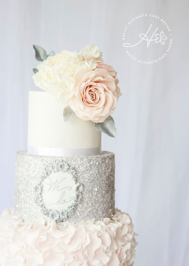 Luxury wedding cake from Hayley Elizabeth Cake Design, sugar roses, silver leaf foliage, elegant wedding cake, pink and grey wedding cake, silver wedding cake, wedding cake inspiration, silver glitter wedding cake, pink and silver wedding cake, silver sequin wedding cake