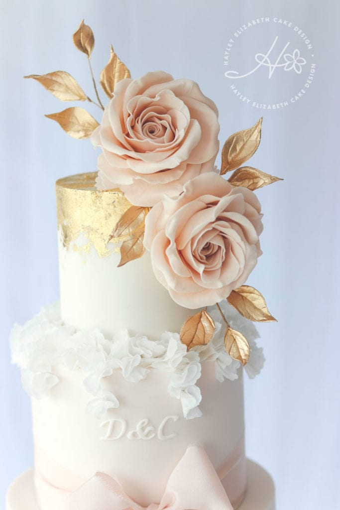 Luxury wedding cake from Hayley Elizabeth Cake Design, monogram wedding cake, wedding cake inspiration, elegant wedding cakes, Hampshire cake designer., blush and gold wedding cake, gold wedding cake, gold leaf wedding cake, ribbon wedding cake
