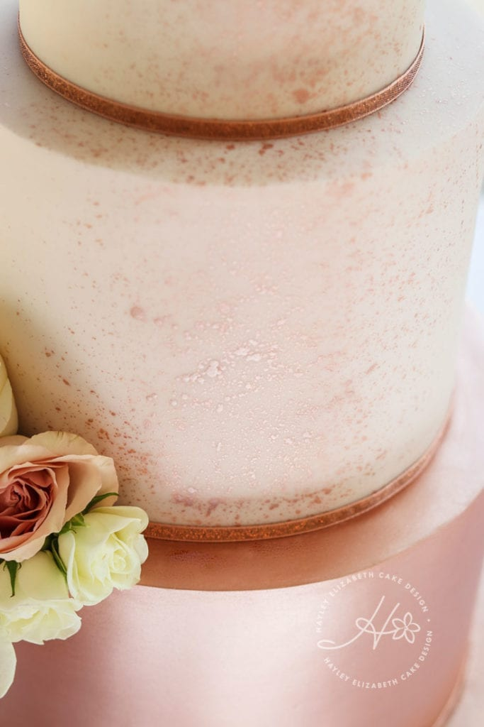 Luxury rose gold wedding cake, shimmer cake, fondant icing, luxury wedding cake, elegant wedding cake, wedding cake inspiration, Hampshire and Dorset wedding cake designer, textured wedding cake