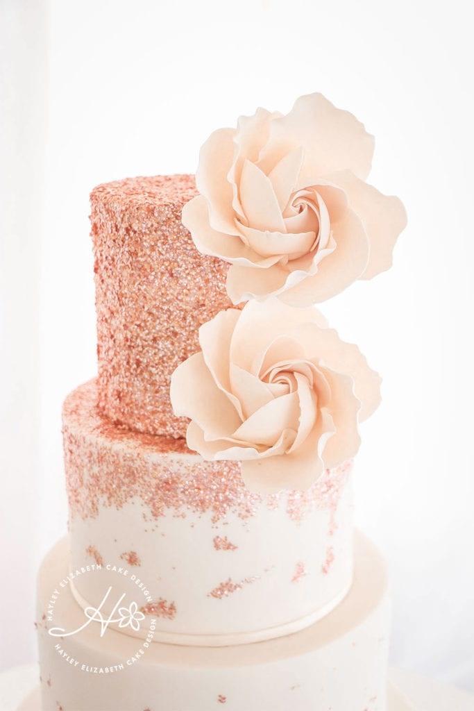 Luxury rose gold wedding cake, blush sugar flowers, fondant icing, luxury wedding cake, elegant wedding cake, wedding cake inspiration, Hampshire and Dorset wedding cake designer, textured wedding cake