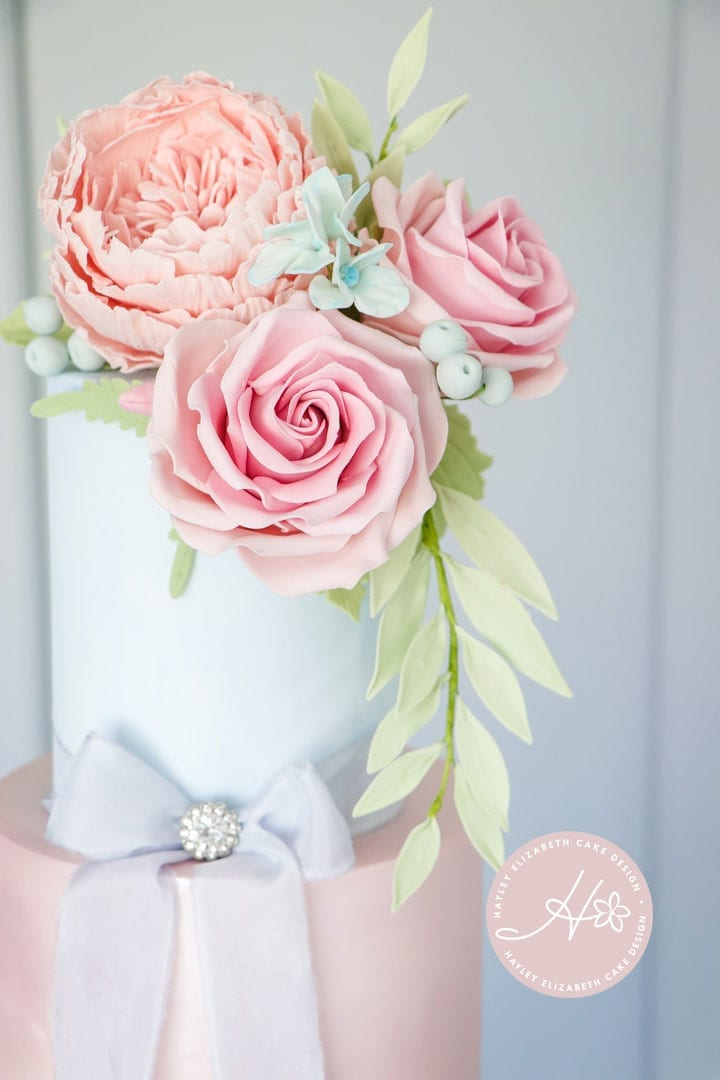 English Country Garden Wedding Cake, pink and blue wedding cake, four tier wedding cake, pastel wedding cake, sugar flowers, fondant icing, Hampshire and Dorset cake design, luxury wedding cake, elegant wedding cake, wedding cake inspiration