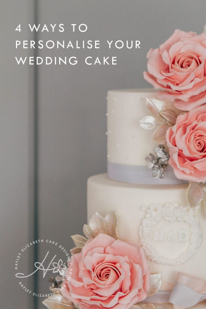 4 ways to personalise your wedding cake and dessert table | Luxury wedding cake from Hayley Elizabeth Cake Design, sugar roses, silver leaf foliage, fondant icing, elegant wedding cake, pretty wedding cake, pink and grey wedding cake, silver wedding cake, wedding cake inspiration