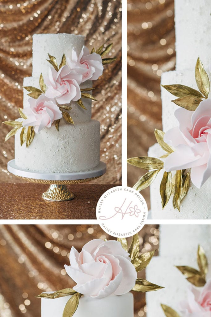 Textured wedding cake with contemporary roses and gold leaves. White, gold and pink wedding cake, elegant wedding cake, sugar flowers, Hampshire and Dorset cake design, wedding cake inspiratio